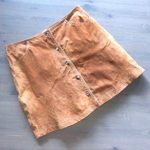 Forever 21 LA CA Tan Leather Snap Burton Skirt 30